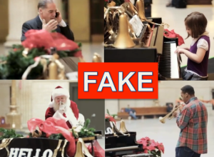 """Amtrak """"magic piano"""" in Chicago train station is fake candid camera viral video."""