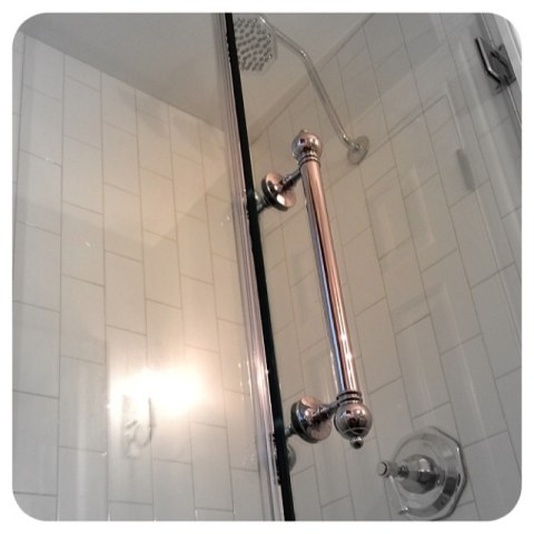"custome shower pulls polished nickel 1/2"" glass prep"