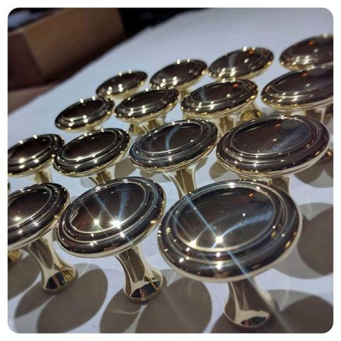 la cornue cabinet knobs in unlacquered brass