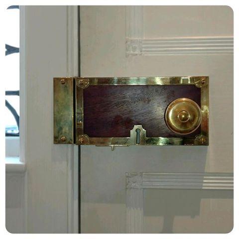"""12"""" custom rim lock with mahogany inlay"""