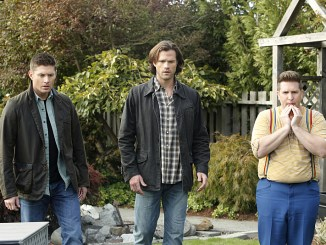 "Supernatural -- ""Just My Imagination"" -- Image SN1108B_0065.jpg -- Pictured (L-R):  Jensen Ackles as Dean, Jared Padalecki as Sam and Nate Torrence as Sully -- Photo: Bettina Strauss/The CW -- © 2015 The CW Network, LLC. All Rights Reserved."