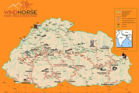 bhutan map tourist map of bhutan map of bhutan trekking