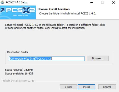 install pcsx2 on windows 10 c drive