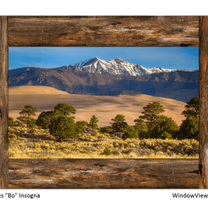 Colorado Great Sand Dunes Rustic Wood Window View 32″x48″x1.25″ Premium Canvas Gallery Wrap