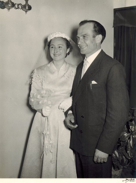 Teresa Benzi and Giuseppe Marenco on their wedding day. The couple would have three daughters - Michela, Doretta, and Patrizia.