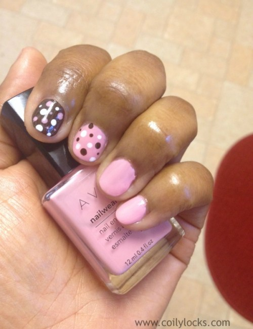 pink & brown polka dot nail art coily locks manicure monday alisha lampley 2