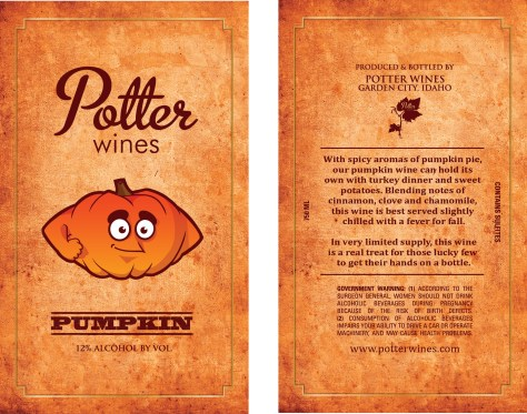 This specialty goes for $20/bottle. Email me at crystalpotter@potterwines.com for pre-order info or come down to either of the farmers' markets in Boise on Saturday, October 31st.
