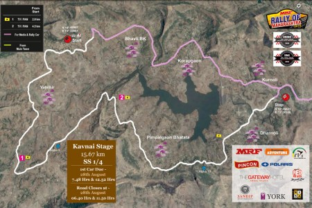 stage details with maps mrf rally of maharashtra, 2016
