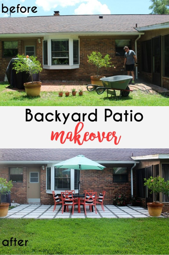 Before and After of a backyard patio makeover