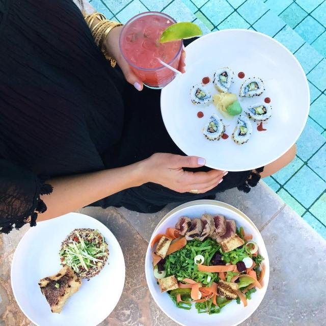 Healthy and colorful lunch by the pool Plus a watermelonhellip