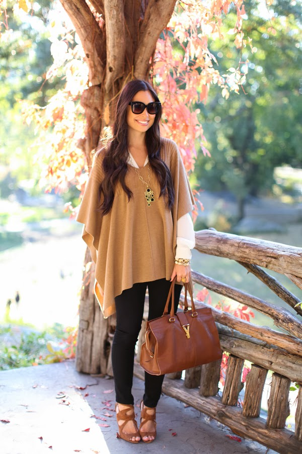 MaxStudio Camel Poncho, YSL Cabas Chyc Purse in Biscuit