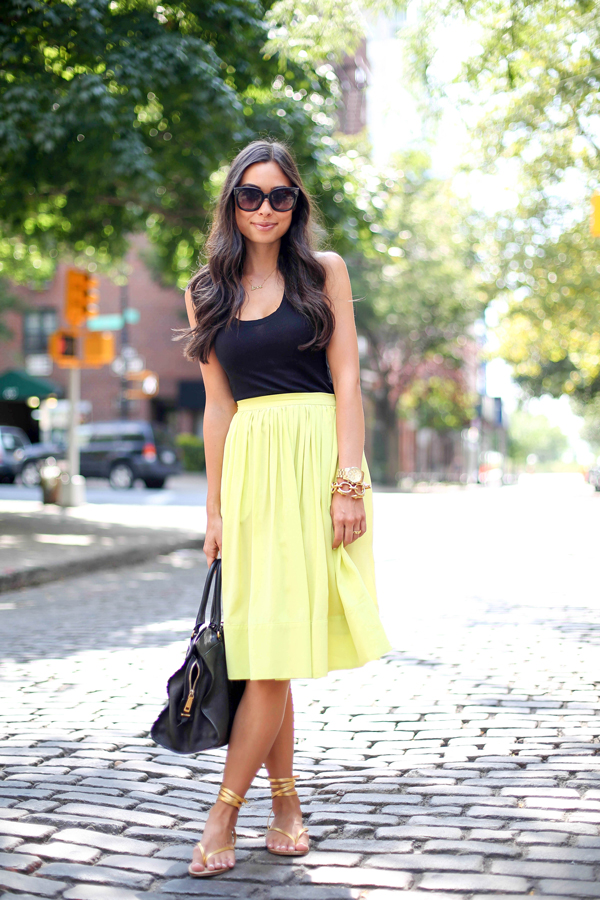 Elizabeth and James chartreuse midi skirt