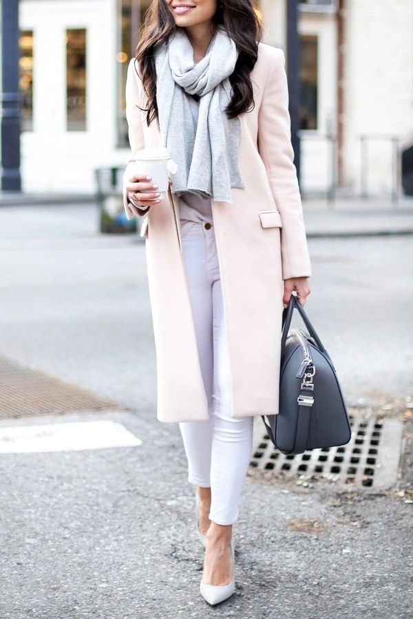 Pink coat with white skinny jeans