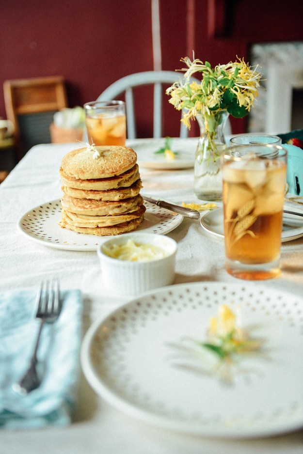 Pancakes with Honeysuckle Infused Butter & Maple Syrup  // www.WithTheGrains.com