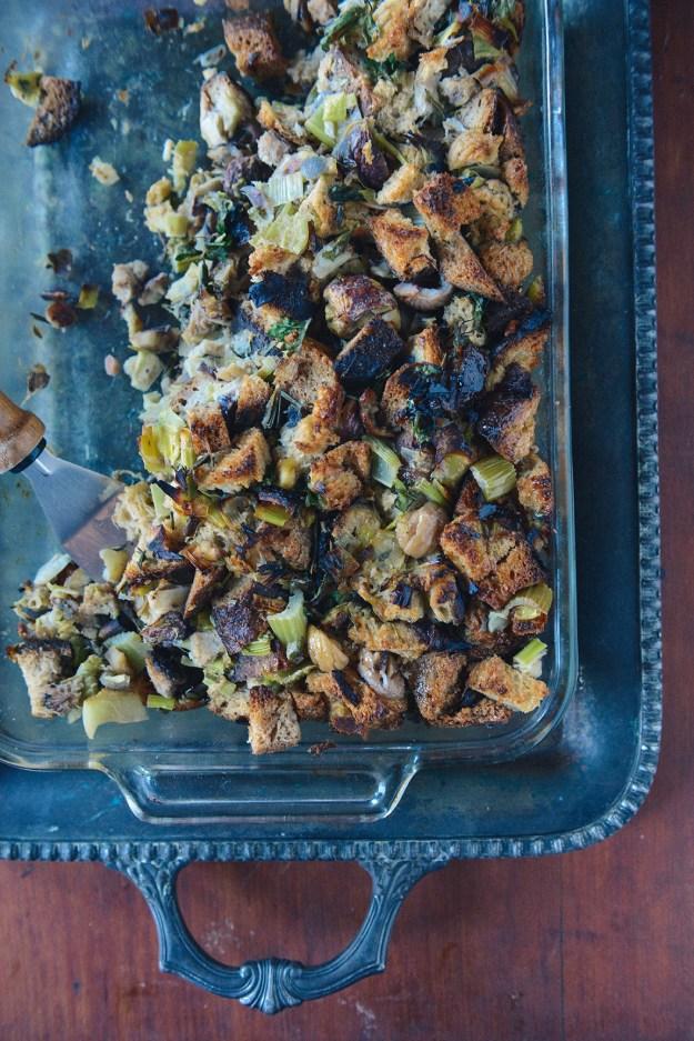 Roasted Chestnut Stuffing (Vegetarian) // www.WithTheGrains.com