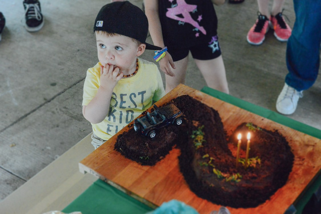 A Jeep Themed Dark Chocolate Quinoa Cake for a 2nd Birthday // www.WithTheGrains.com