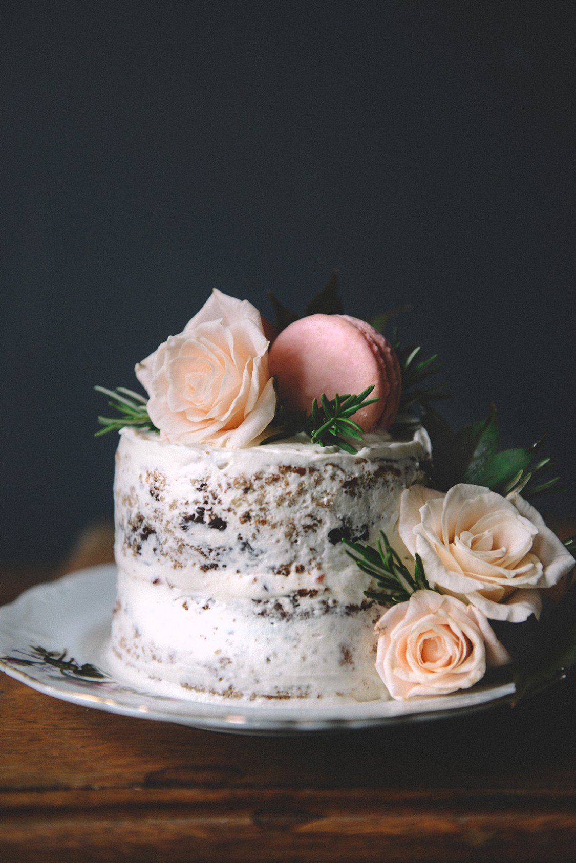 Rose Water Chocolate Chunk Layer Cake with Rose Water Frosting & Rose ...