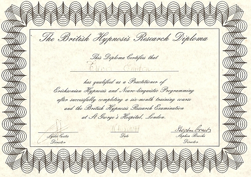 Trevor Emdon's NLP Practitioner Certificate British Hypnosis Research
