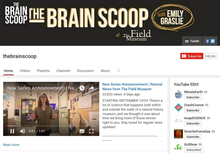 The Brain Scoop YouTube Channel