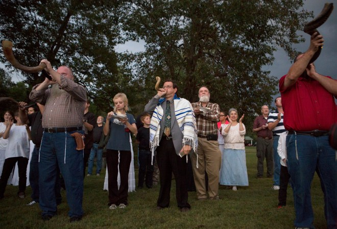After spotting the new moon members of Bethel Fellowship Ministries blow shofars in celebration of the Feast of Trumpets. It is a biblically commanded celebration and is observed after sighting the new moon which starts the first day of the seventh biblical lunar month.