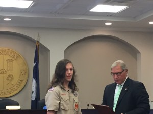 Eagle Scout Franklin Andre with Mayor Bob McLean