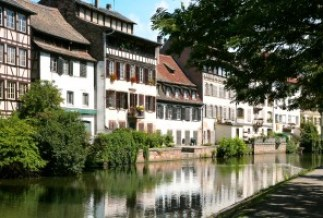 Petite France above canal, Old Town in Strasbourg France, Alsace