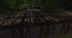 The start of a wooden roof