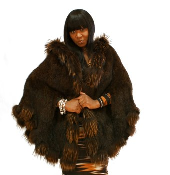 Brown Knitted Mink Cape