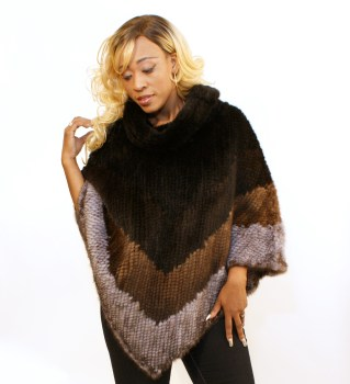4-Color Knitted Mink Poncho