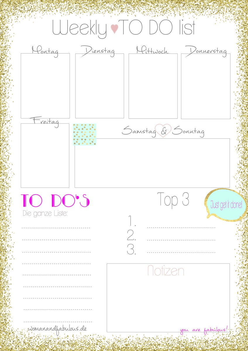 the Fabulous 'Weekly To Do List'