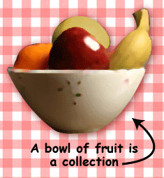 A bowl of fruit is a collection