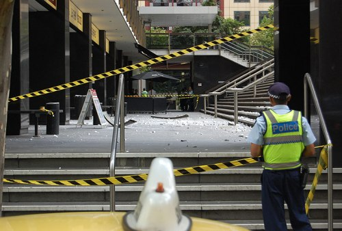 Aftermath of the fallen facade panel (Andy Park, The Age, January 31 2012)