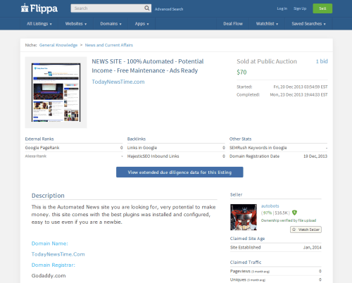 Automated news website listed for sale on Flippa
