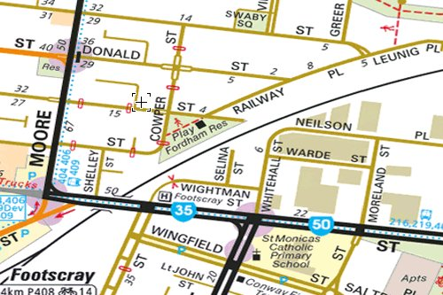 Footscray's Fordham Reserve on a Melway map