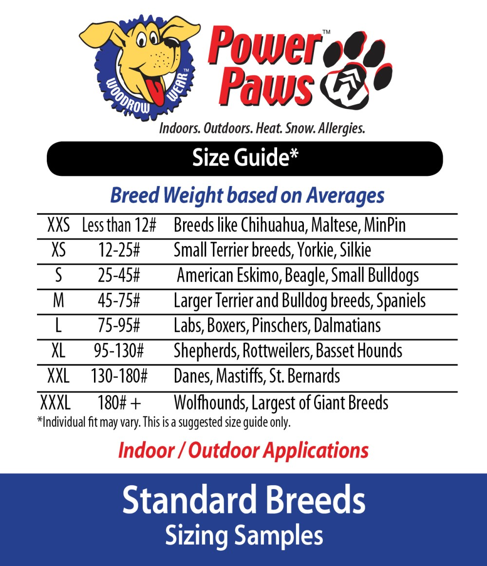 Size guide woodrow wear breed weight guide for power paws regular foot shape geenschuldenfo Choice Image
