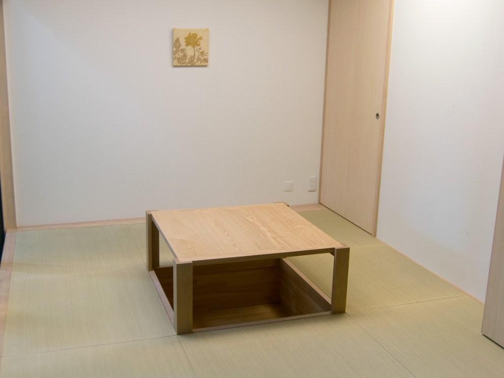 アメリカンチェリー材掘りごたつ用ローテーブル