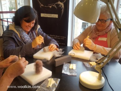 Some of the ladies working on their needle felted owls.