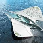 Floating city concept shaped like a manta