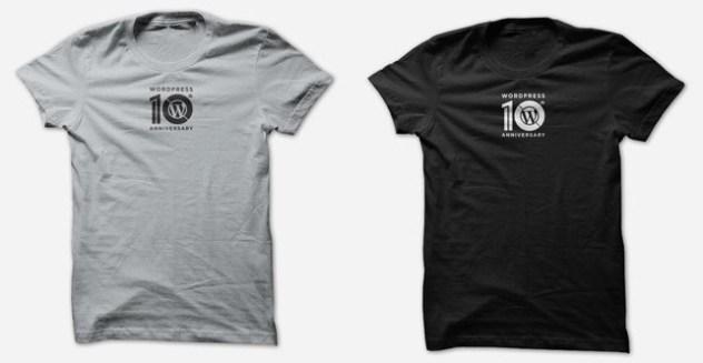 Silver and Black tshirts with WordPress 10th anniversary logo on them