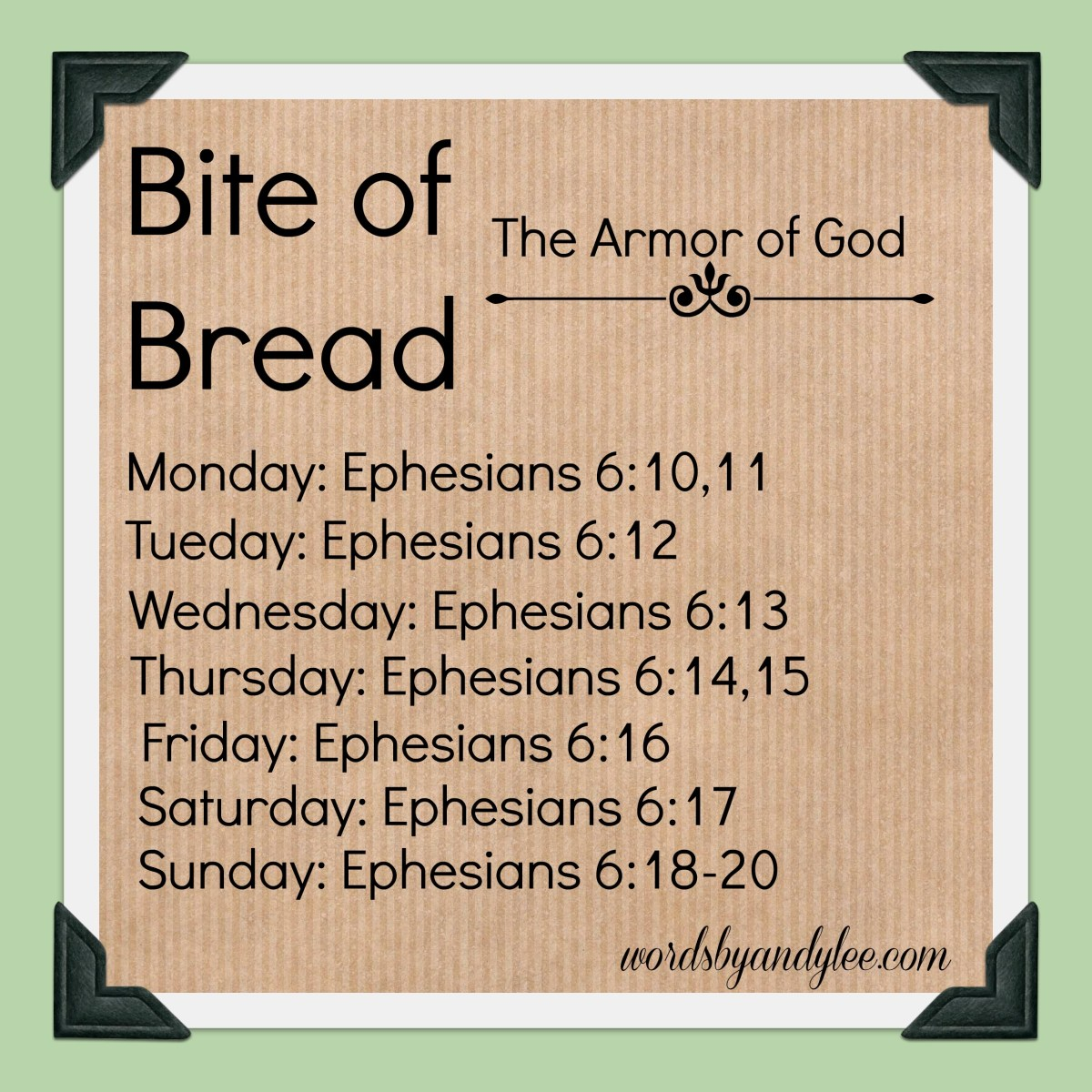 Bite of Bread Reading Plan: The Armor of God
