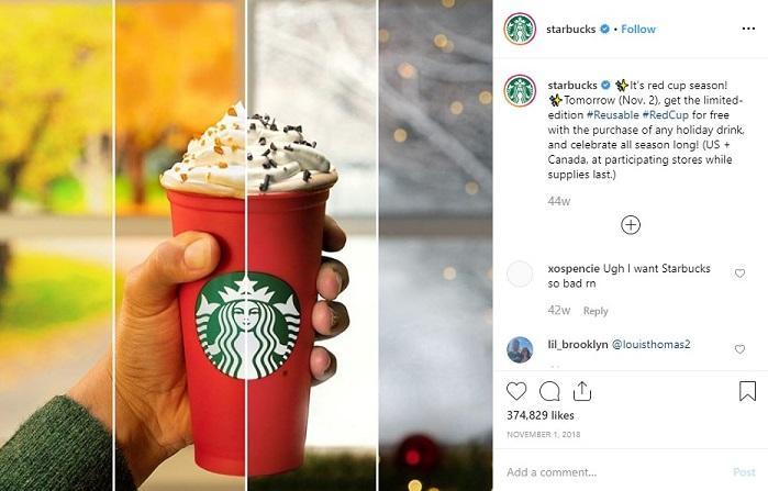 Starbucks red cop Instagram post