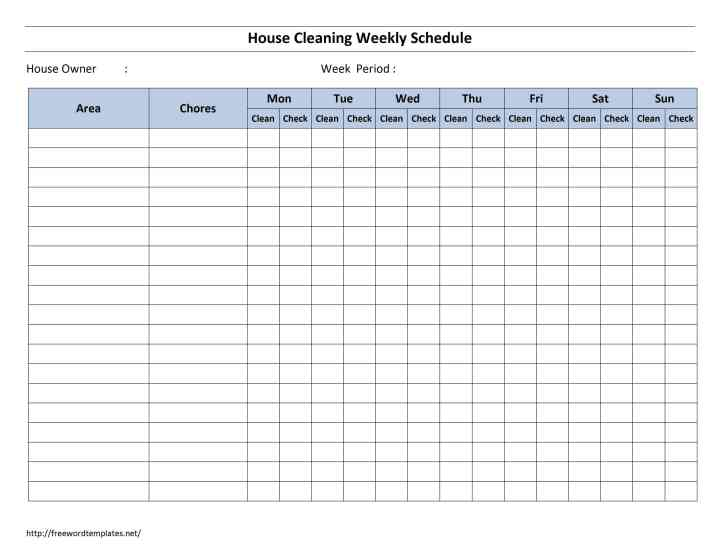 ... Cleaning Schedule Template. .Blank Calendars For Scheduling Employees