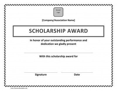 Scholarship award certificate template free microsoft for Certificate template word 2013