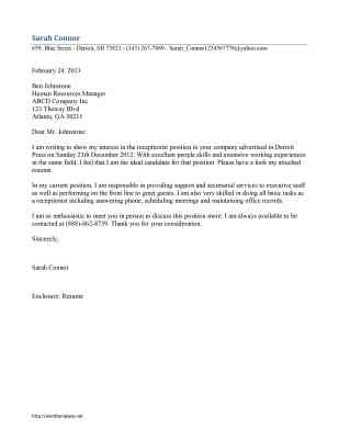 cover letter for a gym receptionist - receptionist cover letter template free microsoft word