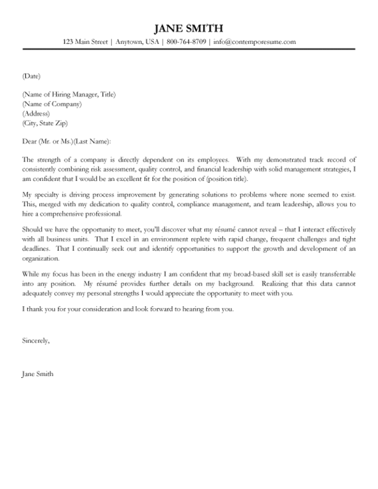 leadership cover letter