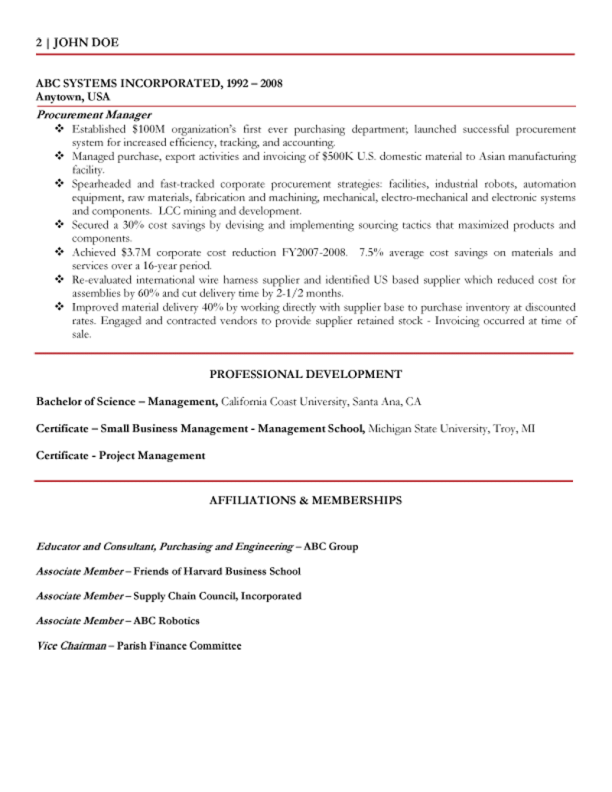 OF THE GLOBAL PROCUREMENT SUPPLY CHANGE EXECUTIVE RESUME SAMPLE