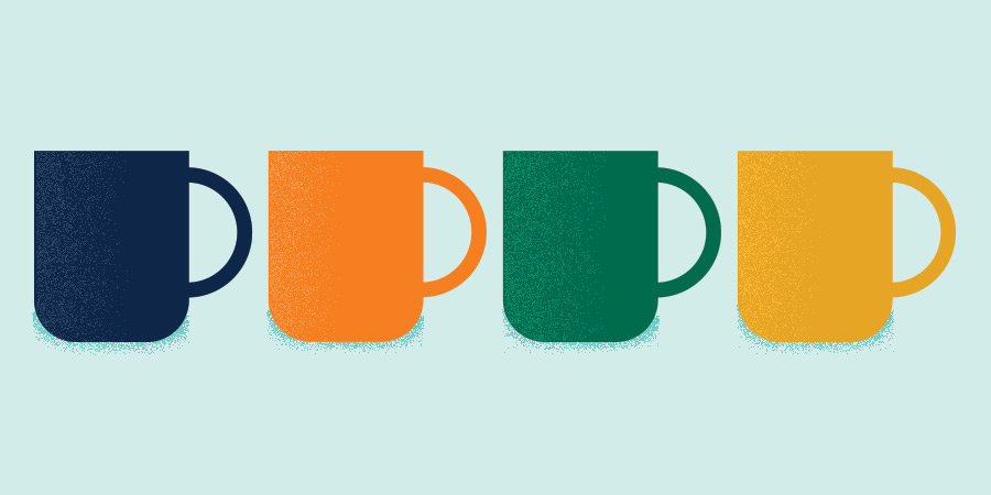 navy, orange, green, and yellow coffee mugs