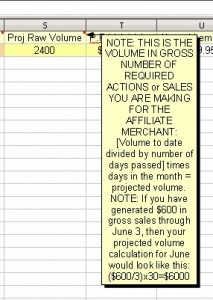 PPC Affiliate Marketing Sheet Showing Raw-Volume Calculations