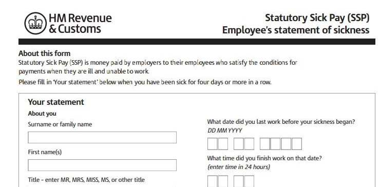 self certification for statutory sick pay ssp