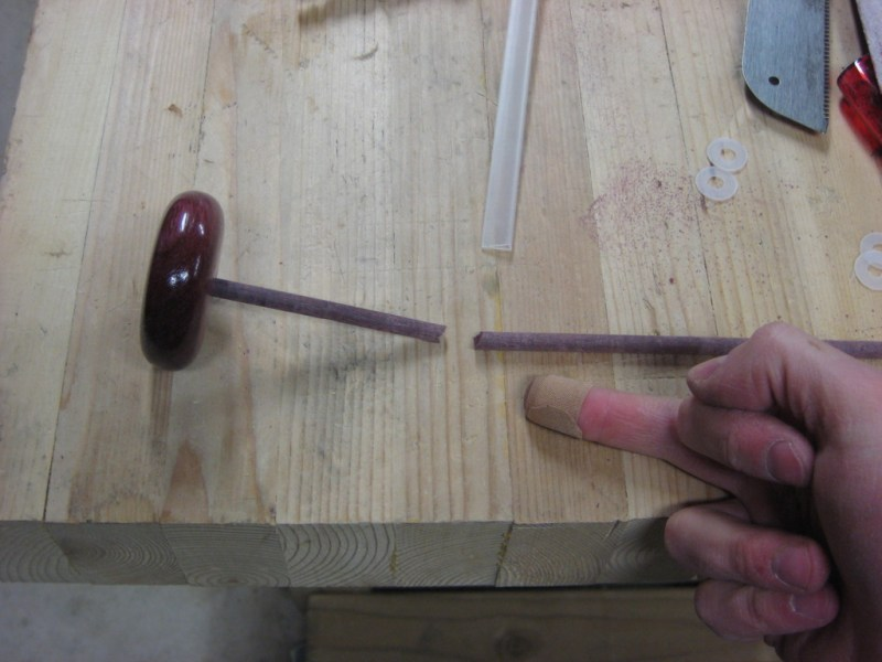 Purpleheart dowel broke and jammed into into my finger